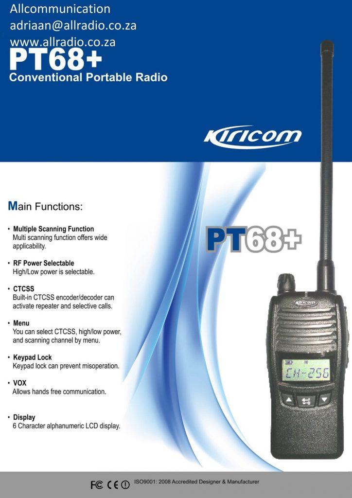 Kiricom PT68+ Midband portable two way radio