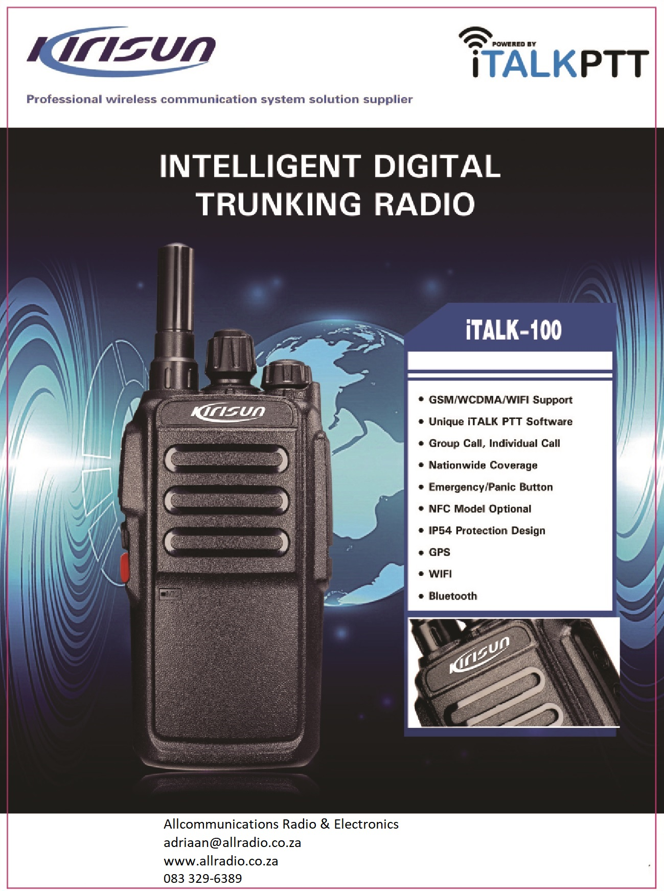 Kirisun iTalk 200 Smart PTT Trunking radio Pretoria Allcommunications Radio with wifi