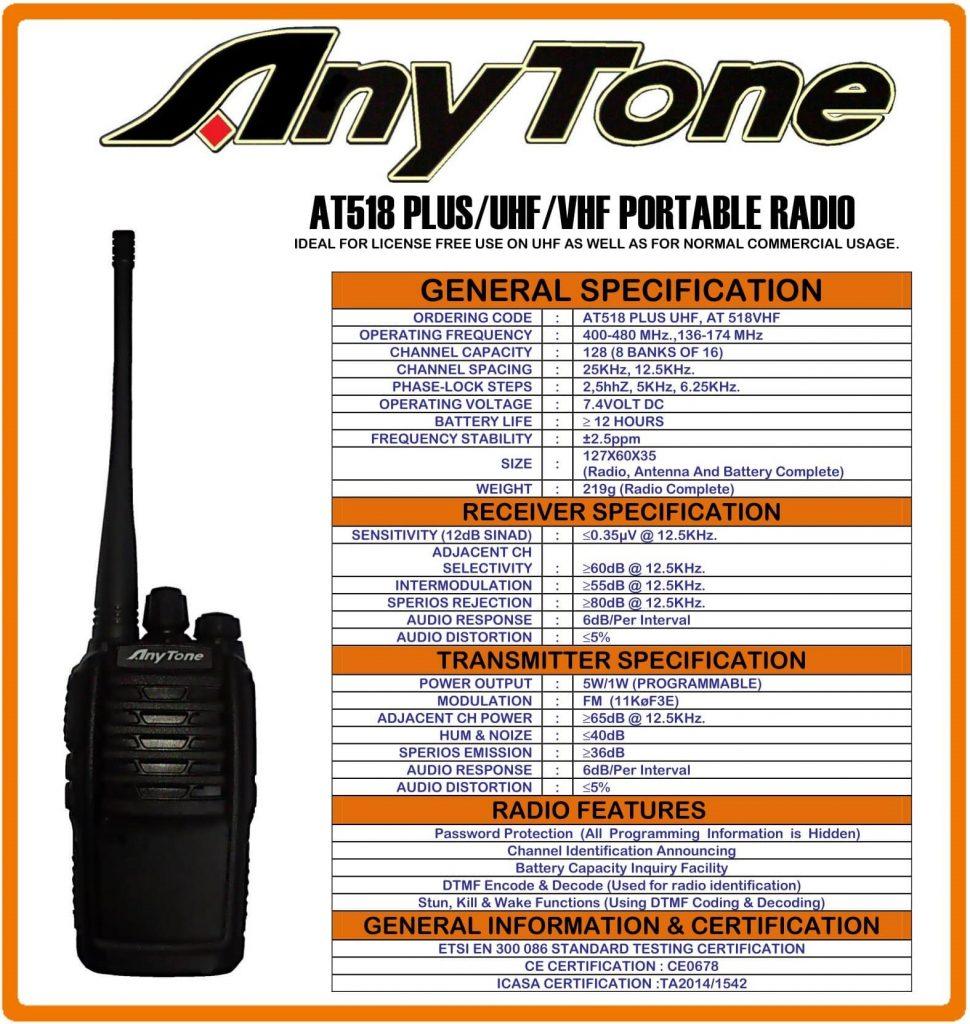 Anytone AT-518 plus Portable two way radio UHF