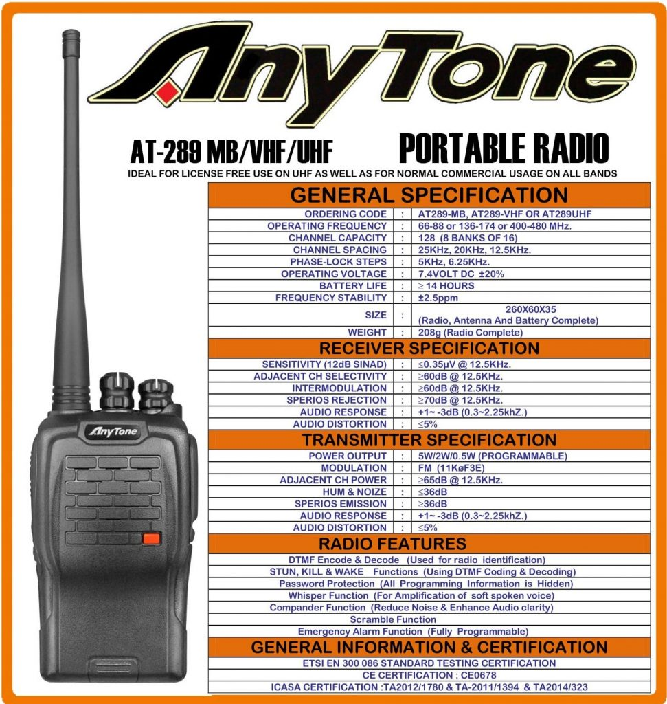 Anytone AT-289 AT289 VHF two way radio