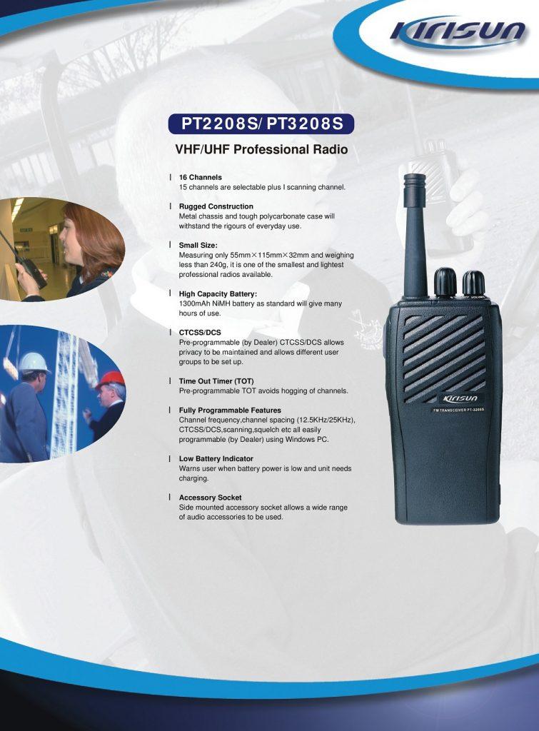 Kirisun PT2208 PT3208 two way radio VHF or UHF