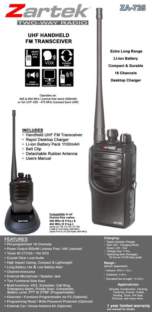 Zartek ZA725 Two way radio UHF