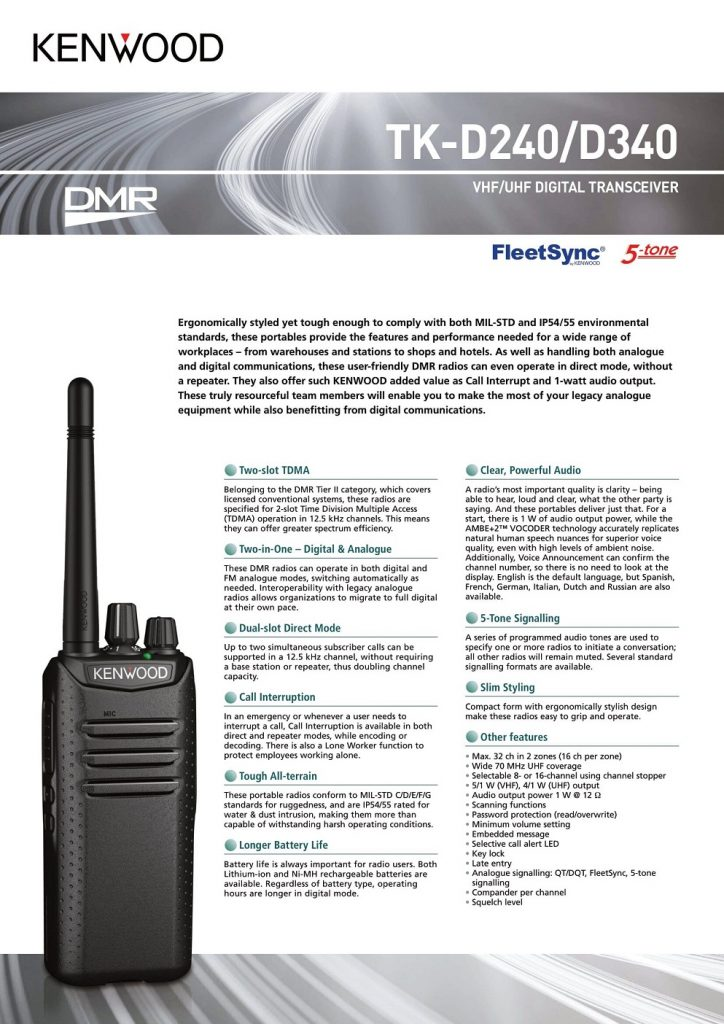 Kenwood TKD340 UHF digital two way radio